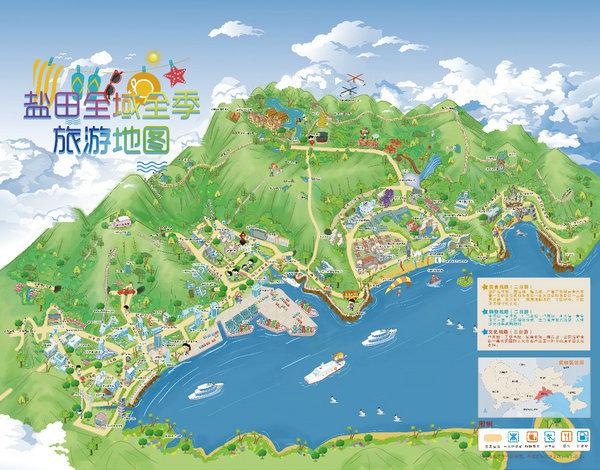(盐田区全域旅游地图 图片由盐田区文化广电旅游体育局提供)